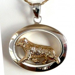 14K Gold and Sterling Silver Australian Shepherd in Glossy Narrow Oval
