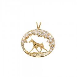 One of a Kind Stunning 14K Gold Diamond Scene with Doberman Pinscher