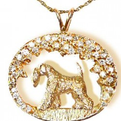 14K Gold Kerry Blue Terrier a dazzling scene with 1.5 Carats of Brilliant Cut Diamonds