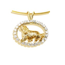 14K Gold Cavalier King Charles in Gemstone Oval - ONE of a KIND