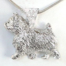 14K Gold Norwich Terrier with White Gold Bail Paved with Diamonds