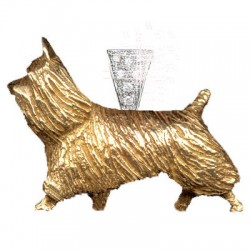14K Gold Large Trotting Silky Terrier with 14K White Gold Bail Paved in Diamonds