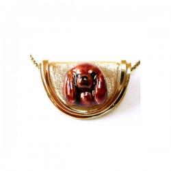 14K Gold Cavalier King Charles Personalized Enamel Head on Half Moon Slide