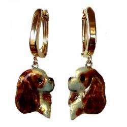 14K Gold Cavalier King Charles Earrings with Customized Enamel Artwork