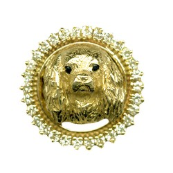 14K Gold Cavalier Head in Diamond Frame with Black Diamond Eyes