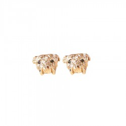 14K Gold or Sterling Silver Bulldog Head Earrings with Black Diamond Eyes