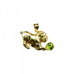14K Gold or Sterling Silver Bulldog Puppy Playing with Genuine Gemstone Ball