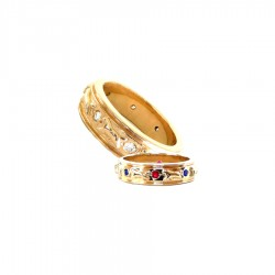 14K Gold Raised Golden Retriever Eternity Band Ring with 8 Gemstones