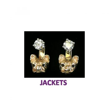 14K Gold French Bulldog Earring Jackets - Featured