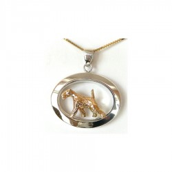 14K Gold or Sterling Airedale Terrier Trotting in Narrow Glossy Oval