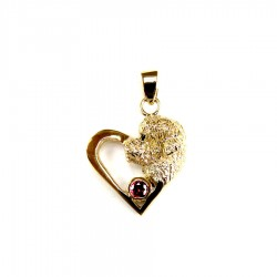 14K Gold Portuguese Water Dog Head in Heart with Ruby Accent