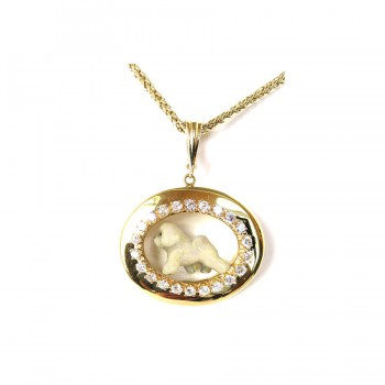 ONE of a KIND 14K Gold BIchon Frise in Diamond Shadow Box