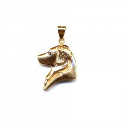 14K Gold Large Golden Retriever Head with Black Diamond Eye