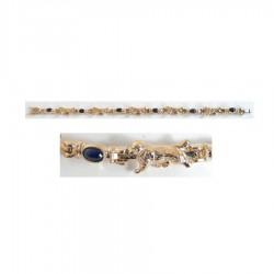14K Gold Trotting Newfoundland Bracelet with Sapphire Cabochon Links
