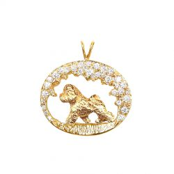 One of a Kind Stunning 14K Gold Diamond Scene with Bichon Frise