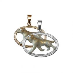 14K Gold and Sterling Silver Double Oval Pendant with Yellow Enamel Labrador Retriever