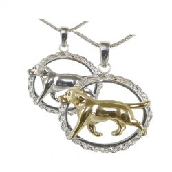 Stunning Large Trotting Labrador Retriever in Rope Bezel, Options available in 14K Gold and Sterling Silver