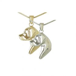 14K Gold and Sterling Silver Large Labrador Retriever Head Pendant with Black Diamond Eye