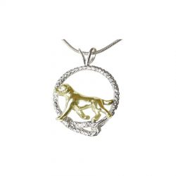 14K Gold Trotting Labrador Retriever in Sterling Silver Leash