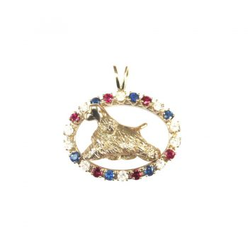 14K Gold Best in Show Gemstone Oval and Surrounds a 3D Sculpture of YOUR Breed