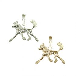 14K Gold or Sterling Silver EXTRA EXTRA Large Trotting Chinese Crested Pendant