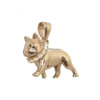 14K Gold Large Trotting French Bulldog with Diamond Badger Collar