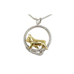 Fabulous French Bulldog in Leash; 14K Gold, Sterling and Combo options