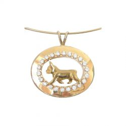 ONE of a KIND 14K Gold French Bulldog in Diamond Shadow Box