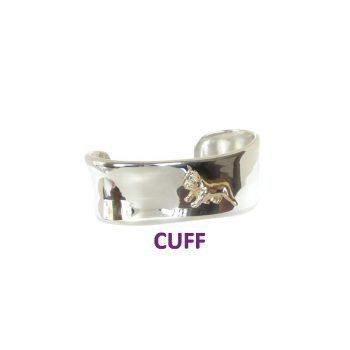 14K Gold French Bulldog on Sterling Silver Trapezoid Bracelet