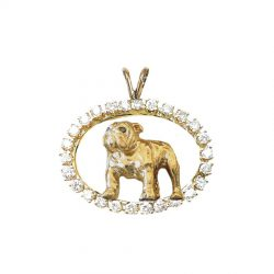 ONE of a KIND 14K Gold Bulldog in Diamond Oval - Featured