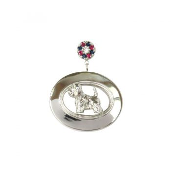 Sterling Oval with Gemstone Rosette Cluster and YOUR Breed