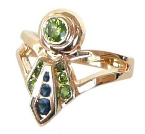 14K Ribbon Ring with Sapphires and Peridot