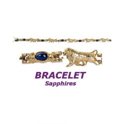 14K Gold Newfoundland Bracelet with Cabochon Sapphire Links