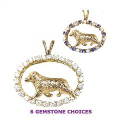 ONE of a KIND 14K Gold Australian Shepherd in Diamond and Tanzanite Oval
