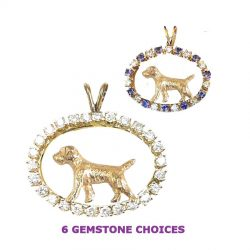 ONE of a KIND 14K Gold Border Terrier in Diamond Oval-6 Gemstone Choices