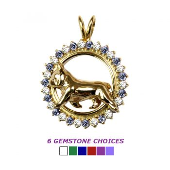 14K Gold Trotting French Bulldog in Diamond Circle -- 6 Gemstone Choices