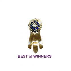14K Gold Best of Winners Rosette Ribbon with Genuine Sapphires and Diamond