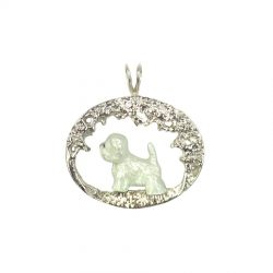 Sterling Silver or 14K Gold Westie Scene Pendant Featuring Our Exclusive Enamel Artwork