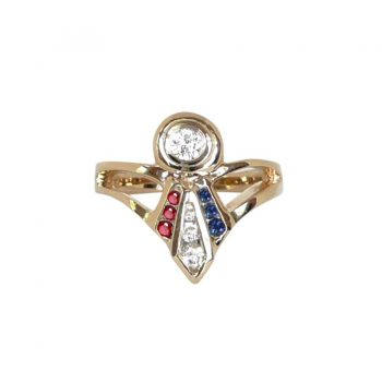 14K Gold Best in Show Ladies' Ribbon Ring with Diamonds, Rubies and Sapphires