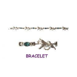 Sterling Samoyed Bracelet with Blue Topaz Links