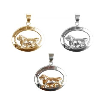 14K Gold or Sterling Clumber Spaniel Trotting in Narrow Glossy Oval