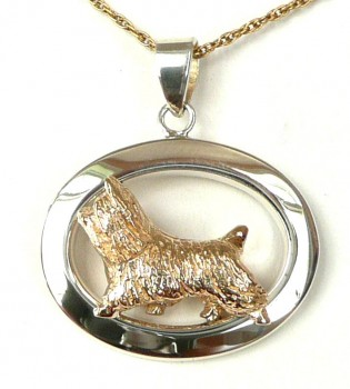 14K Gold and Sterling Silver Silky Terrier in Glossy Narrow Oval