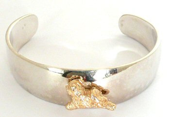 14K Gold Tibetan Terrier Trotting on Glossy Sterling Cuff