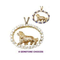 ONE of a KIND 14K Gold Cavalier King Charles in Diamond and Genuine Gemstone Ovals
