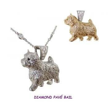 14K Gold Norwich Terrier with 14K White Gold Diamond Pave Bail