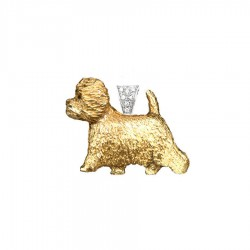 14K Gold Large West Highland White Terrier with 14K White Gold Diamond Pavé Bail