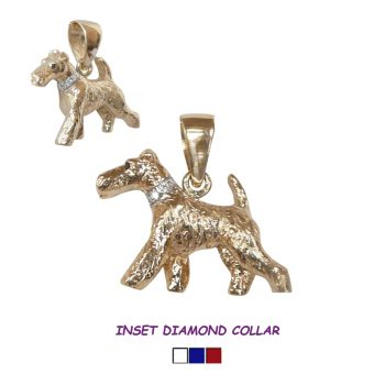 Striking Antique Style Wire Fox Terrier in 14K Gold with Inset Diamond Collar