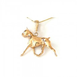 Large Trotting Boxer with Black Diamond Eye in 14K Gold or Sterling