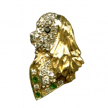 14K Gold Profile Cavalier Head Pavé in Diamonds, with Gemstone Collar and Black Diamond Eye