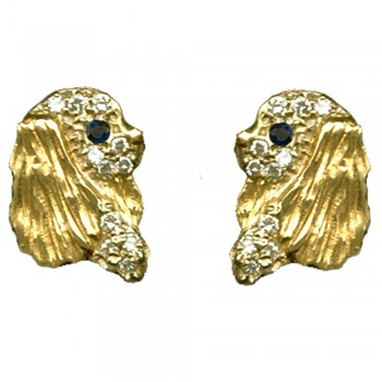 Cavalier King Charles Spaniel Earrings Featuring Profile Heads Pavé with Full Cut Diamonds
